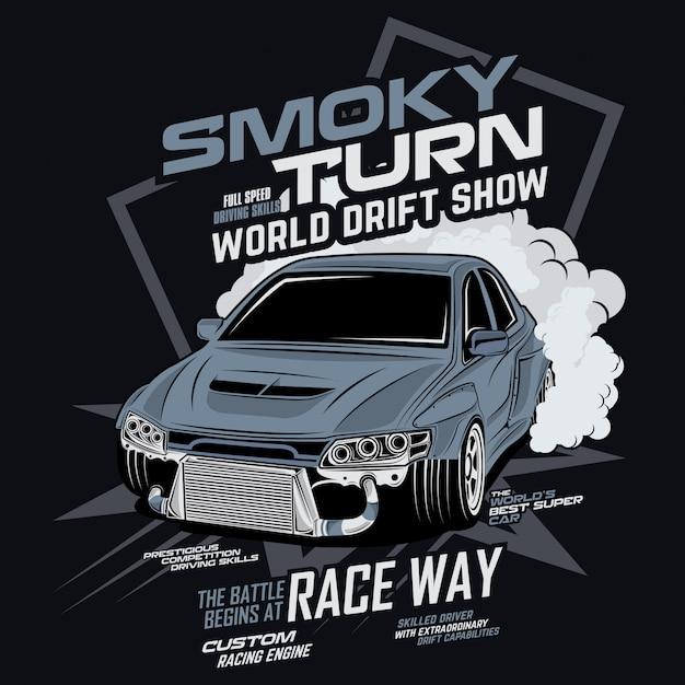 Smoky turn world drift show, vector car illustration Premium Vector