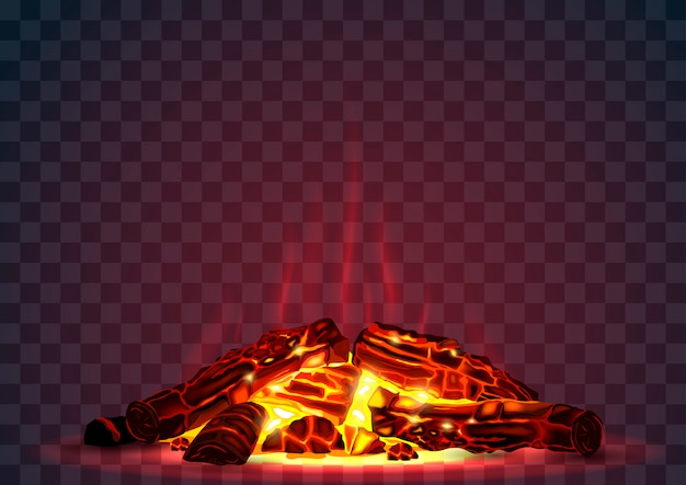 Smoldering fire at night Premium Vector