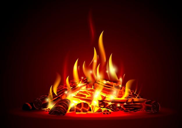 Smoldering fire at night Premium Vector