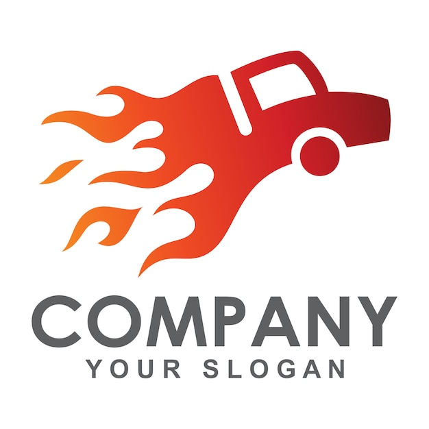 Smoldering truck logo Premium Vector