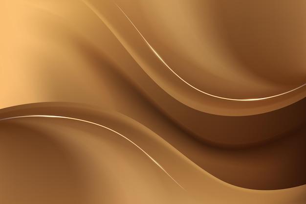 滑らかな黄金の波の背景 無料ベクター