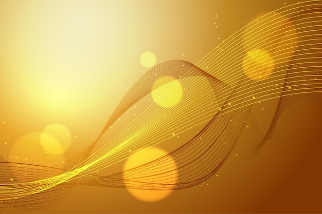 Smooth golden wave wallpaper theme Free Vector