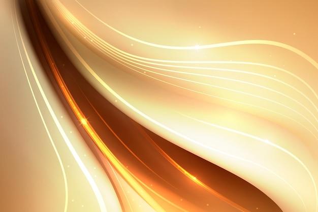 Smooth golden wave wallpaper Free Vector