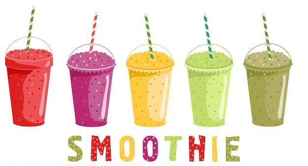 スムージーセット。フルーツドリンク。スムージーやフレッシュジュースを入れたカップを取り除きます。明るい健康飲料イラスト Premiumベクター