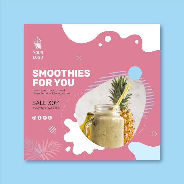 Квадратный флаер в баре smoothies Premium векторы