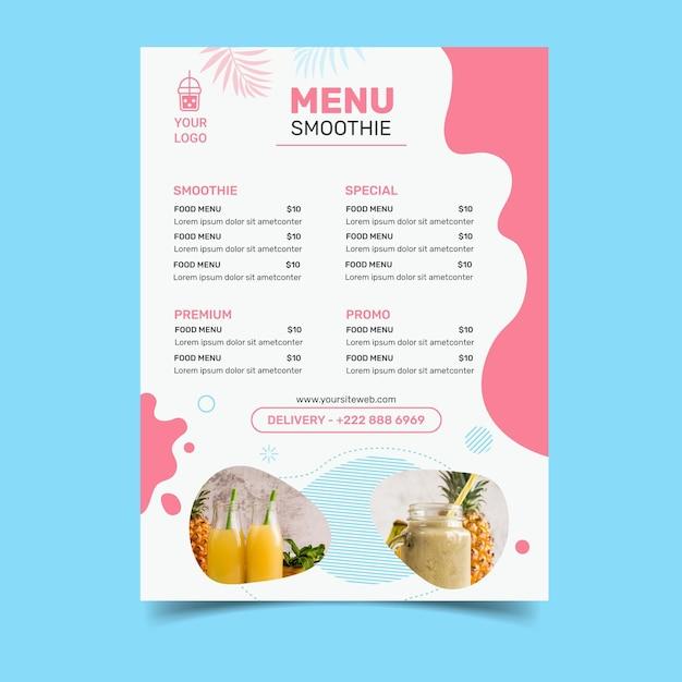 Smoothies bar menu Free Vector