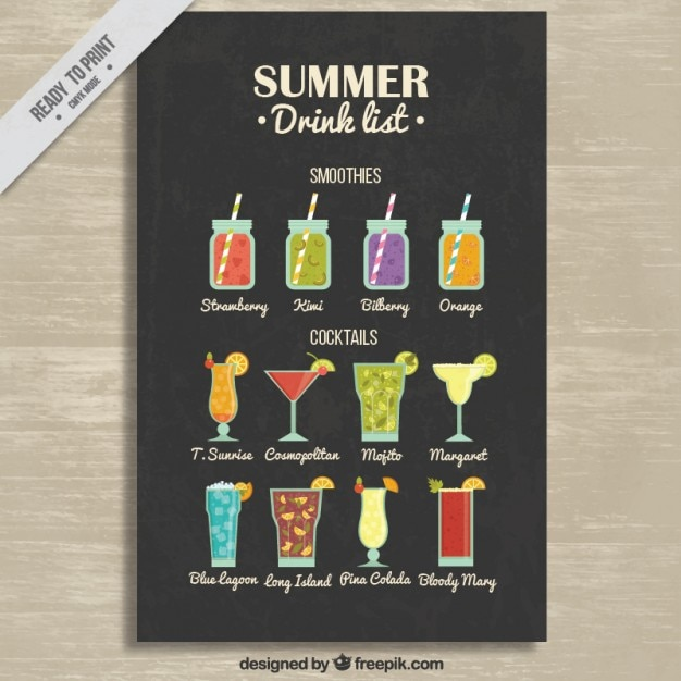 Smoothies and cocktails list Free Vector