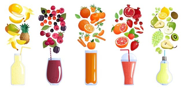 Smoothies collection Free Vector