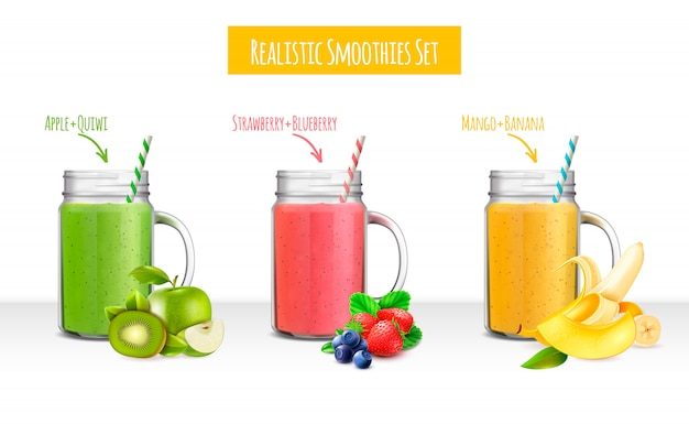 Smoothies jars realistic set Free Vector
