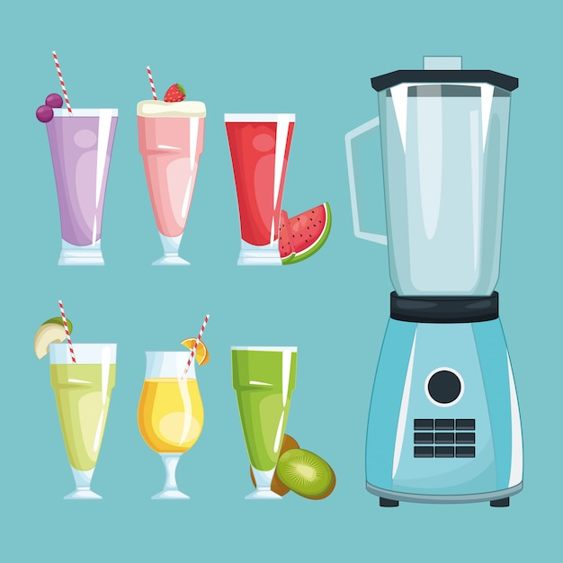 Smoothies and mixer Premium Vector