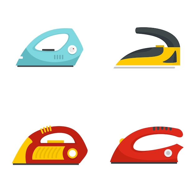 Smoothing iron drag icons set Premium Vector