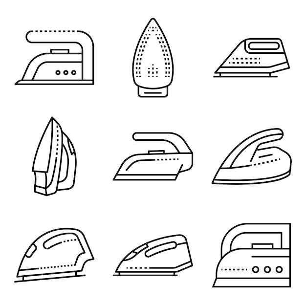 Smoothing-iron icons set. outline set of smoothing-iron vector icons Premium Vector
