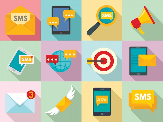 Sms marketing icons set, flat style Premium Vector