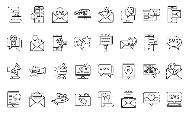 Sms marketing icons set, outline style Premium Vector