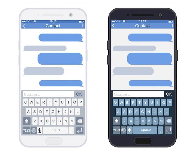 Смартфон с приложением sms-сообщений, Premium векторы