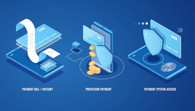 電子請求書、オンライン支払いsms通知、支払い履歴、財務データ保護 無料ベクター