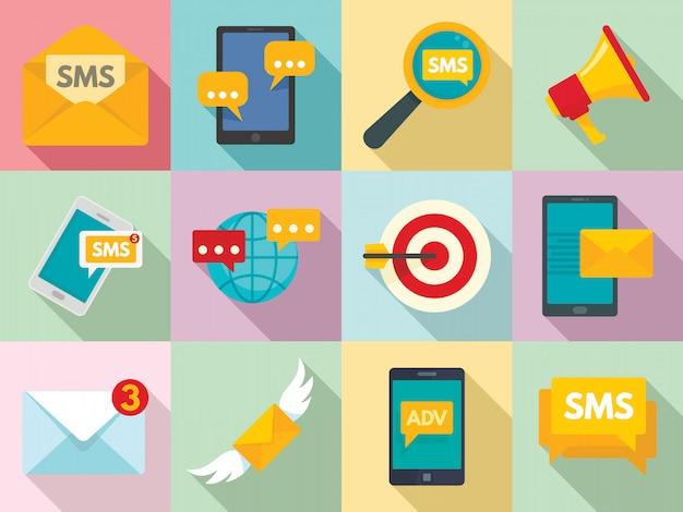 Набор иконок маркетинга sms, плоский стиль Premium векторы