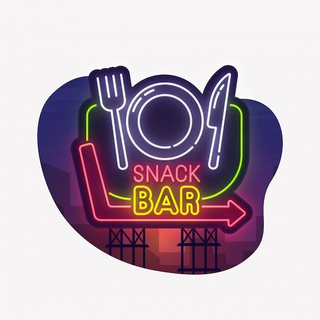 Snack bar neon sign sticker Premium Vector