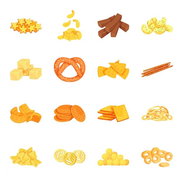 Snack cartoon icon set Premium Vector