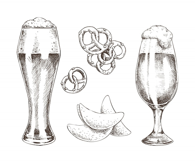 Snack food and foamy beer in glasses graphic art Premium Vector