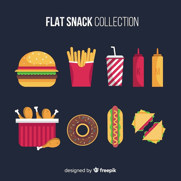 Snack set in flat style Free Vector