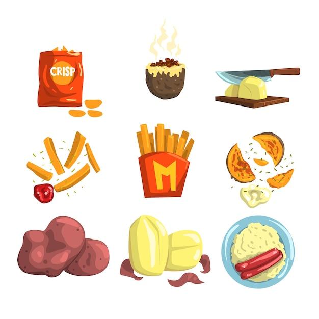 Закуски и приготовленные картофельные продукты иллюстрации на белом фоне Premium векторы