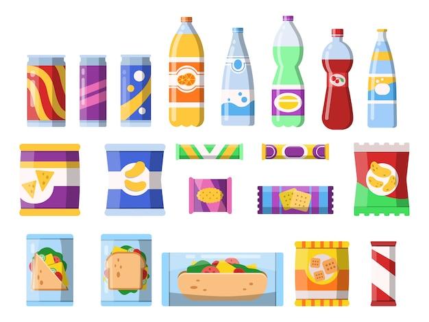 Закуски и напитки. продукты мерчендайзинга фаст фуд пластиковые контейнеры вода содовое печенье чипсы шоколадные батончики плоские картинки Premium векторы