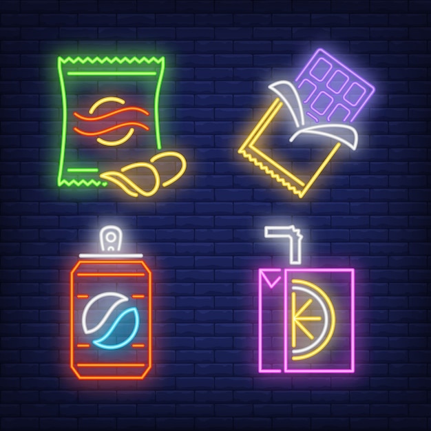 Snacks and drinks for vendor machine neon signs set Free Vector