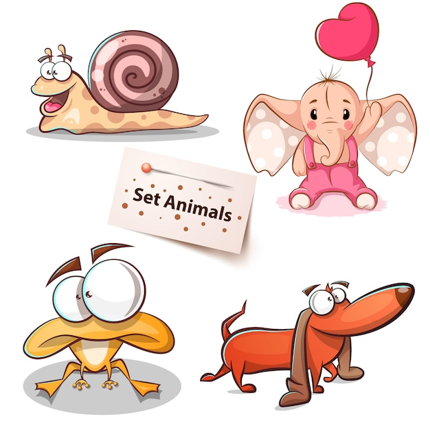 Snail, elephant, frog dog - set animals Premium Vector