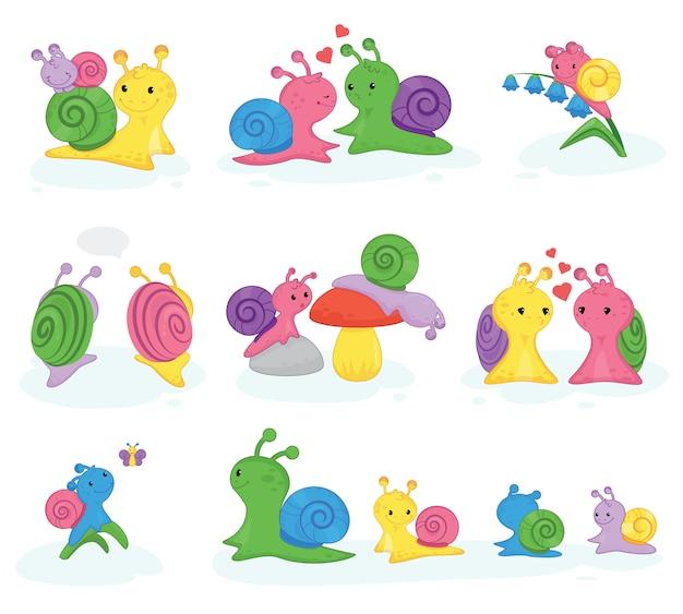 カタツムリベクトルカタツムリ形のキャラクターとシェルと漫画カタツムリまたはカタツムリのような軟体動物の子供イラストセット分離されたカタツムリのナメクジの素敵なカップルのセット Premiumベクター