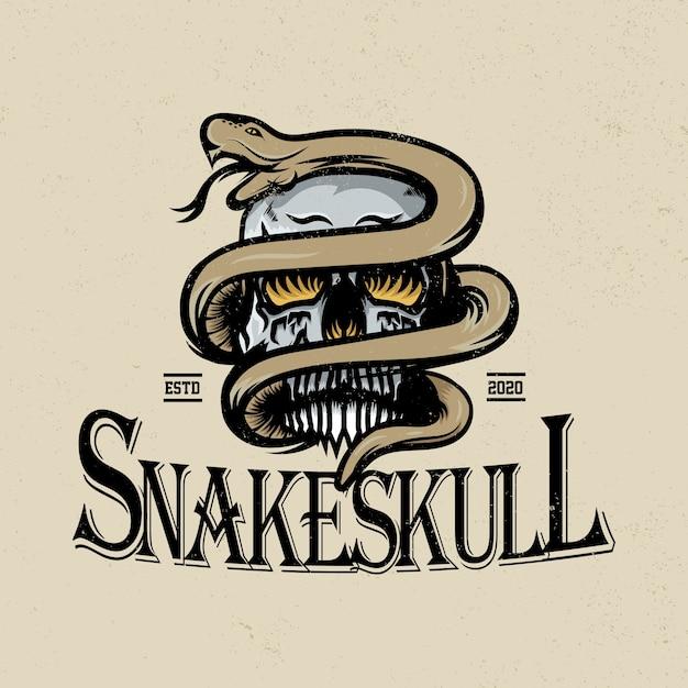 ヘビと頭蓋骨のイラスト Premiumベクター