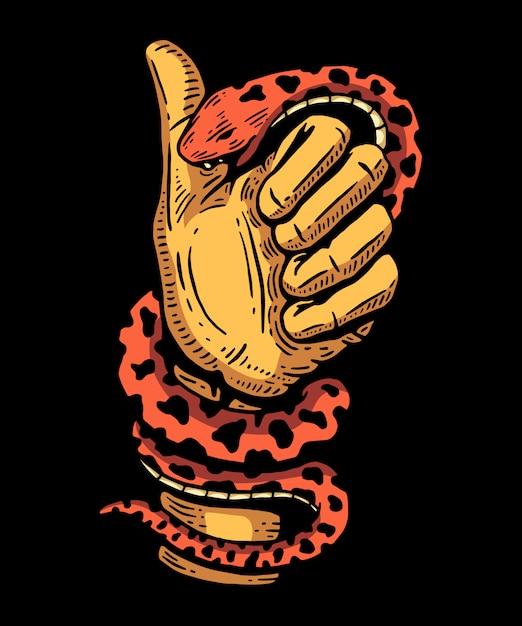 Змеиная рука кусает абстрактную иллюстрацию и дизайн футболки Premium векторы
