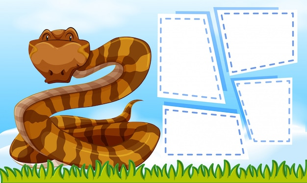 A snake on blank note frames Free Vector