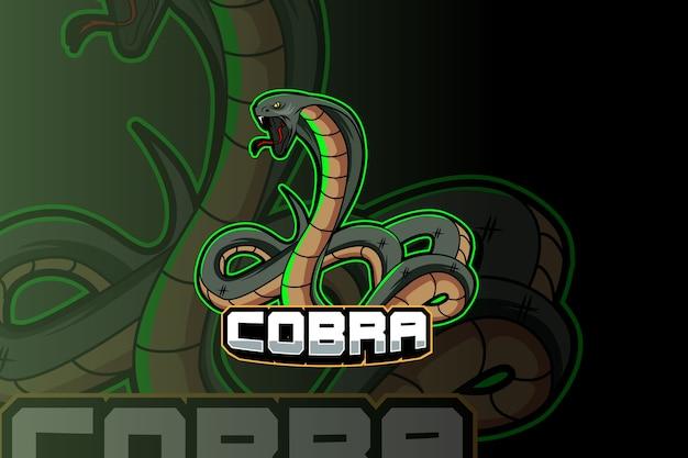 Змея кобра киберспорт и спортивный дизайн логотипа талисмана в современной концепции иллюстрации для печати значка команды, эмблемы и жажды Premium векторы
