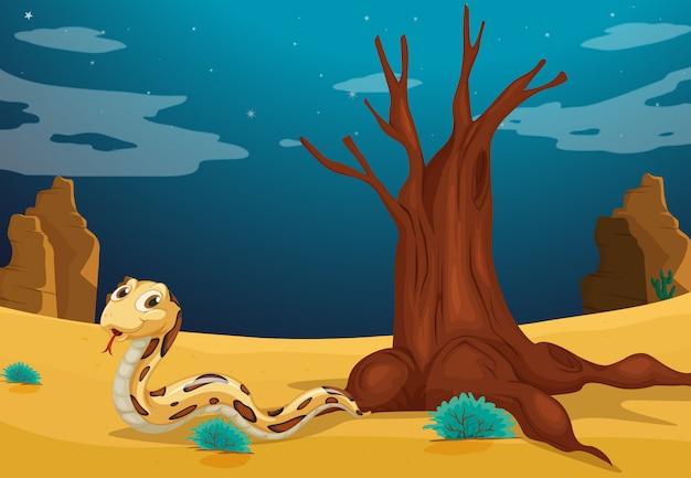 Un serpente nel deserto Vettore gratuito