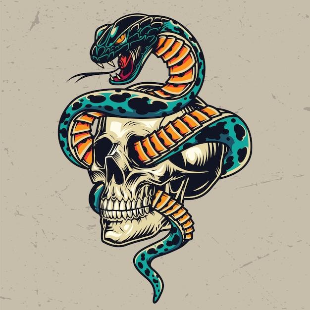 해골 화려한 개념과 짝을 이루고 뱀 무료 벡터