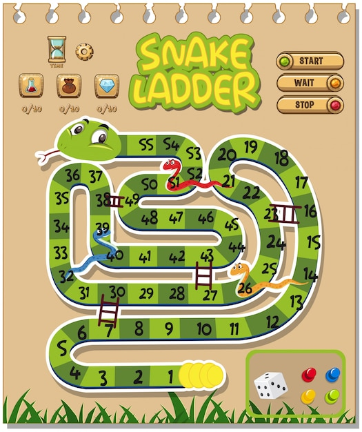 Boardgame design template with snakes and ladders Vector Image