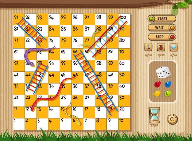 Premium Vector Snake And Ladder Game With Tree And Grass Background