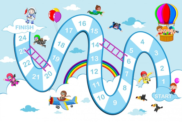 The snake and ladders game with the blue sky theme Premium Vector