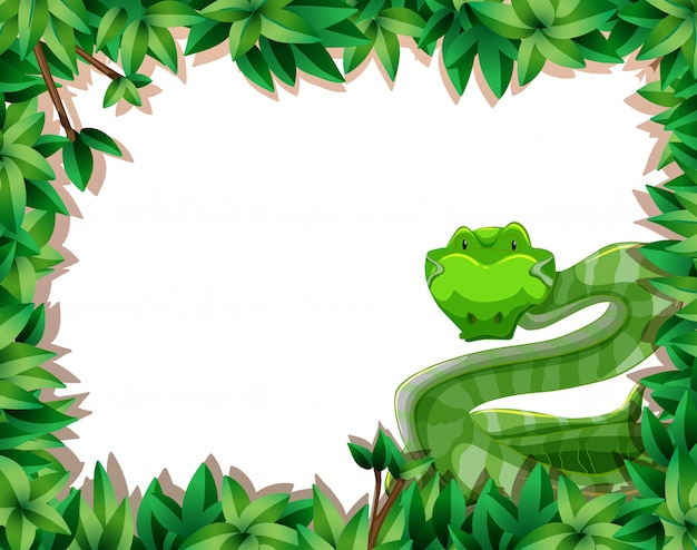 A snake in nature frame Free Vector