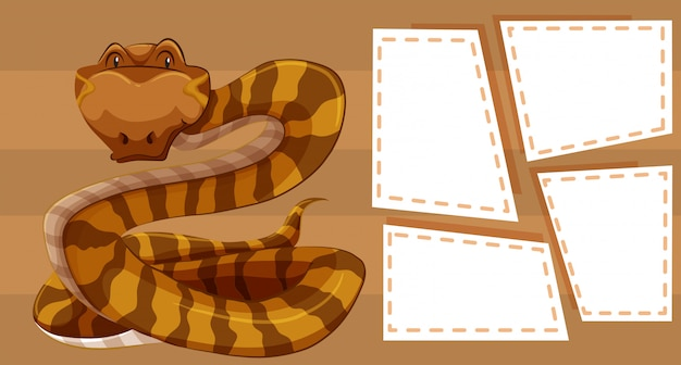 Snake on note background Free Vector