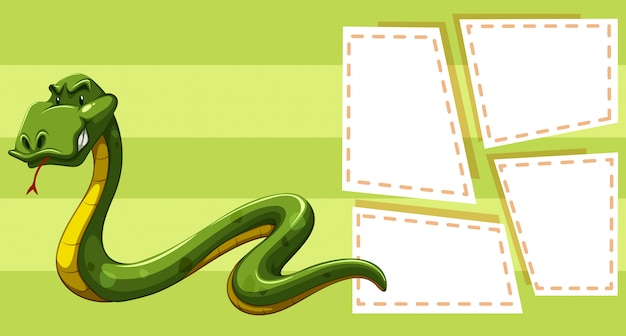 Snake on note template Free Vector