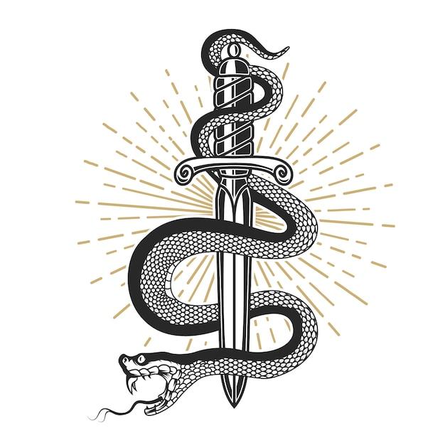 Змея на нож в стиле тату. элемент для футболки, плакат, открытка, эмблема, знак. иллюстрация Premium векторы