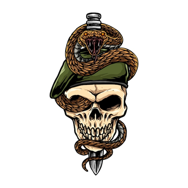 短剣が交差した軍の頭蓋骨のヘビ Premiumベクター