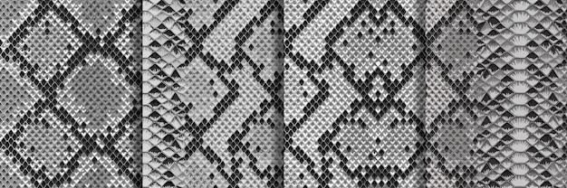 Snake skin seamless patterns set repeat animal backgrounds