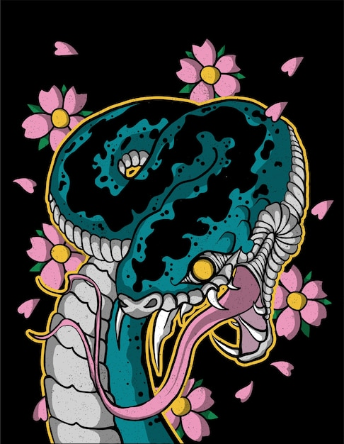 Snake tattoo japanese Premium Vector