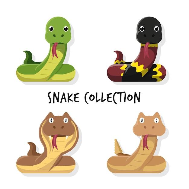 Коллекция мультфильмов snake Premium векторы
