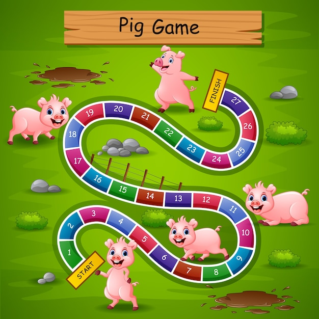 Snakes and ladders game pigs theme Premium Vector