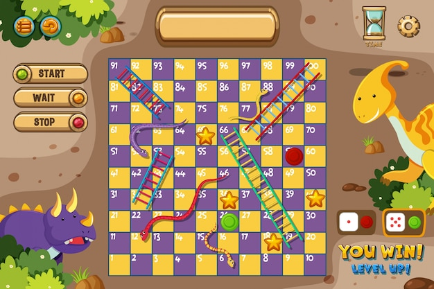Snakes and ladders game s with two dinosaurs Premium Vector