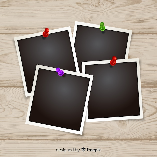 Snapshot templates on a wooden background Free Vector